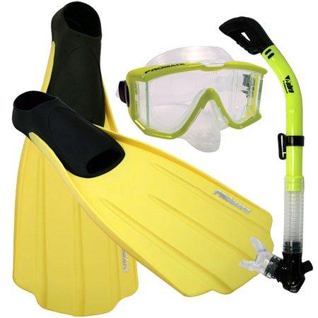 シュノーケリング マリンスポーツ Snorkeling SIDE-VIEW EDGELESS PURGE Mask DRY Snorkel Fins Gear Set, Yellow, XSシュノーケリング マリンスポーツ