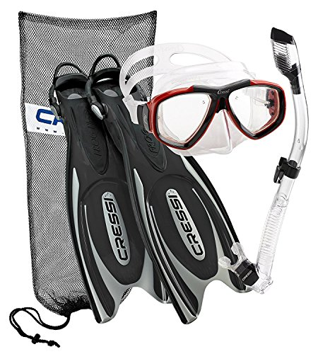 シュノーケリング マリンスポーツ CRSFPFSS BKRD-ML 【送料無料】Cressi Frog Plus Fin Focus Silicone Mask Dry Snorkel Set, Black Red, Medium/Large/Men's 8-10/Women's 10-12シュノーケリング マリンスポーツ CRSFPFSS BKRD-ML