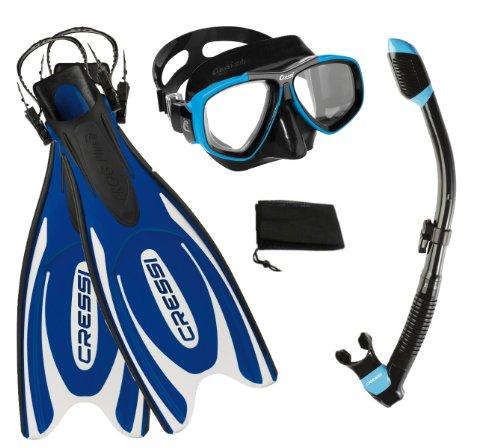 シュノーケリング マリンスポーツ CRSFPFSS BL-ML Cressi Frog Plus Fin Focus Silicone Mask Dry Snorkel Set, Blue, Medium/Large/Men's 8-10/Women's 10-12シュノーケリング マリンスポーツ CRSFPFSS BL-ML