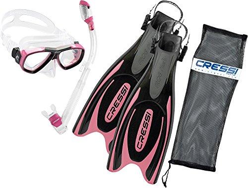 シュノーケリング マリンスポーツ CRSFPFSS PK-SM Cressi Frog Plus Fin Focus Silicone Mask Dry Snorkel Set, Pink, Small/Medium/Men's 7-9/Women's 8-10シュノーケリング マリンスポーツ CRSFPFSS PK-SM