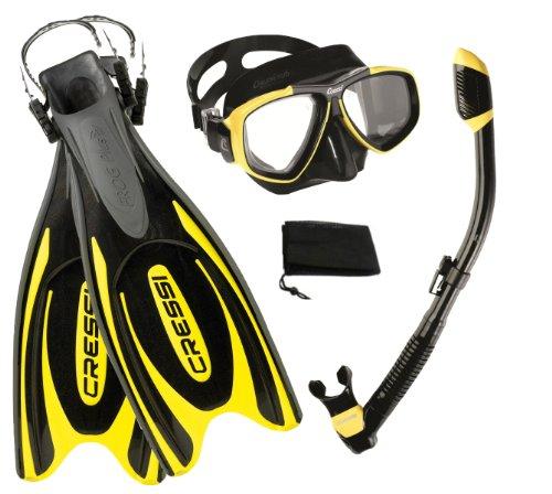 シュノーケリング マリンスポーツ CRSFPFSS YL-SM 【送料無料】Cressi Frog Plus Fin Focus Silicone Mask Dry Snorkel Set, Yellow, Small/Medium/Men's 7-9/Women's 8-10シュノーケリング マリンスポーツ CRSFPFSS YL-SM