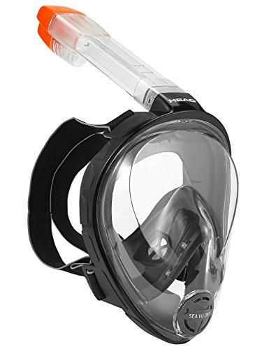 シュノーケリング マリンスポーツ 夏のアクティビティ特集 HEAD Sea Vu Dry Full Face Snorkeling Mask, Black/Grey - X-Small/Small (Made in Italy)シュノーケリング マリンスポーツ 夏のアクティビティ特集