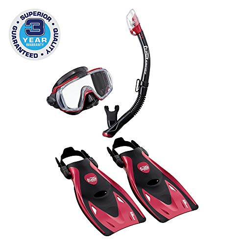 シュノーケリング マリンスポーツ UP-3521QB-MDR-M TUSA Sport Adult Black Series Visio Tri-Ex Mask, Dry Snorkel, and Fins Travel Set, Black/Metallic Red, Mediumシュノーケリング マリンスポーツ UP-3521QB-MDR-M