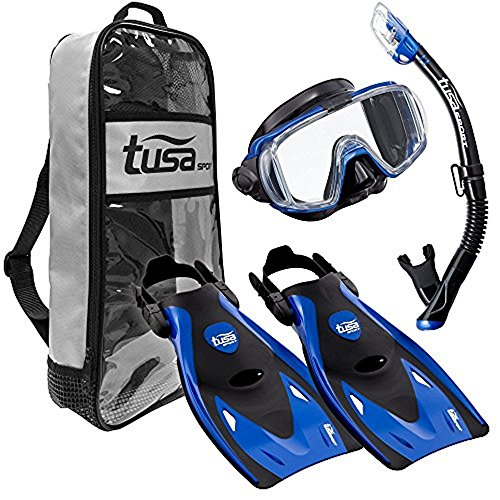 シュノーケリング マリンスポーツ UP-3521QB-MB-L TUSA Sport Adult Black Series Visio Tri-Ex Mask, Dry Snorkel, and Fins Travel Set, Black/Metallic Blue, Largeシュノーケリング マリンスポーツ UP-3521QB-MB-L