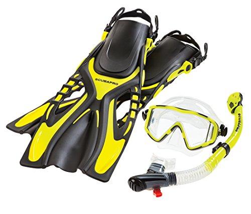 シュノーケリング マリンスポーツ ScubaPro Sub Vu Mask Snorkel and Fins Combo (Small / Medium, Yellow)シュノーケリング マリンスポーツ