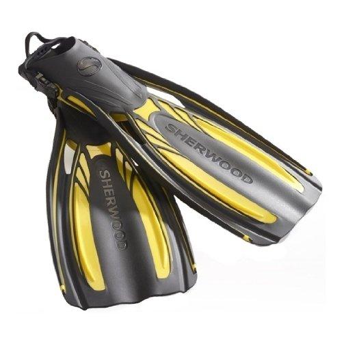 シュノーケリング マリンスポーツ FN720YL 【送料無料】Sherwood Elite Open Heel Pocket Fin, Regular, Yellowシュノーケリング マリンスポーツ FN720YL