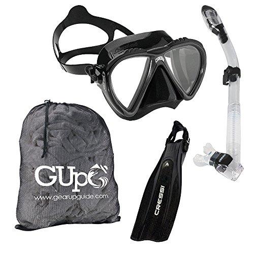 シュノーケリング マリンスポーツ 【送料無料】Cressi Lince Mask, Supernova Dry Snorkel, Pro Light Fins Snorkel Set w/GupG Mesh Travel Bag L/XL Blackシュノーケリング マリンスポーツ