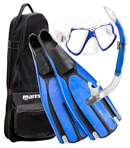 シュノーケリング マリンスポーツ Mares Avanti Tre Scuba Diving Mask Fin Snorkel Set with Carry Bag, BL- 6.5/7.5シュノーケリング マリンスポーツ