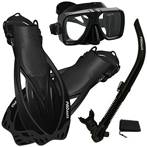 シュノーケリング マリンスポーツ PROMATE Snorkeling Scuba Dive Snorkel Mask Fins Gear Set, AllBk, ML/XLシュノーケリング マリンスポーツ