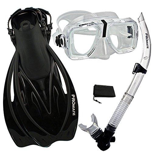 シュノーケリング マリンスポーツ 【送料無料】Promate Snorkeling Scuba Dive Snorkel Mask Fins Gear Set, ClrBk, S/Mシュノーケリング マリンスポーツ