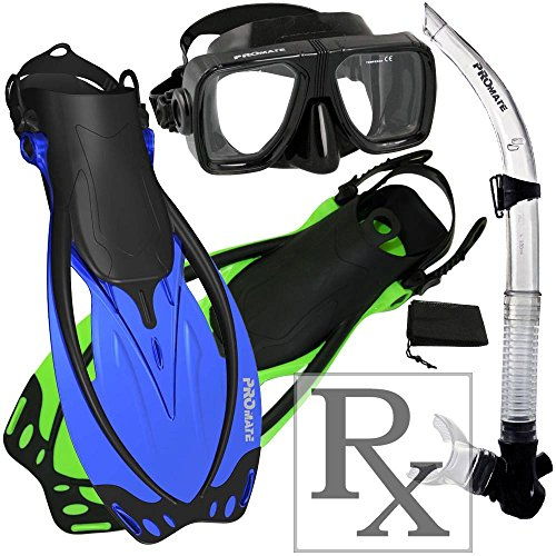 シュノーケリング マリンスポーツ Promate 245500-RxLens-SM, Scuba Diving Fins Snorkel Dive Mask w/Prescription Lens Snorkel Setシュノーケリング マリンスポーツ