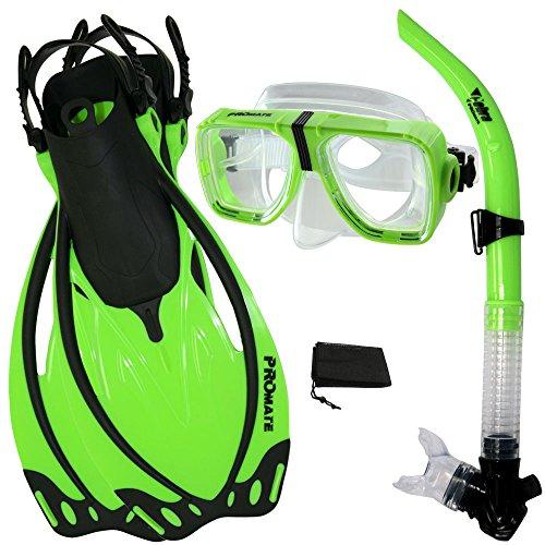 シュノーケリング マリンスポーツ 【送料無料】Promate Snorkeling Scuba Dive Snorkel Mask Fins Gear Set, Green, ML/XLシュノーケリング マリンスポーツ