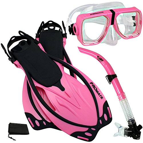 シュノーケリング マリンスポーツ PROMATE Snorkeling Scuba Dive Snorkel Mask Fins Gear Set, Pink, S/Mシュノーケリング マリンスポーツ