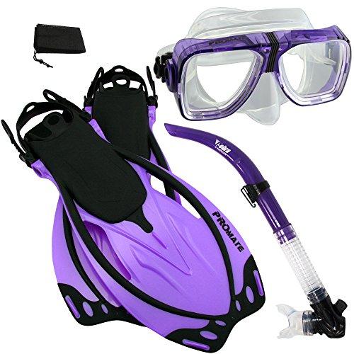 シュノーケリング マリンスポーツ PROMATE Snorkeling Scuba Dive Snorkel Mask Fins Gear Set, Purple, ML/XLシュノーケリング マリンスポーツ