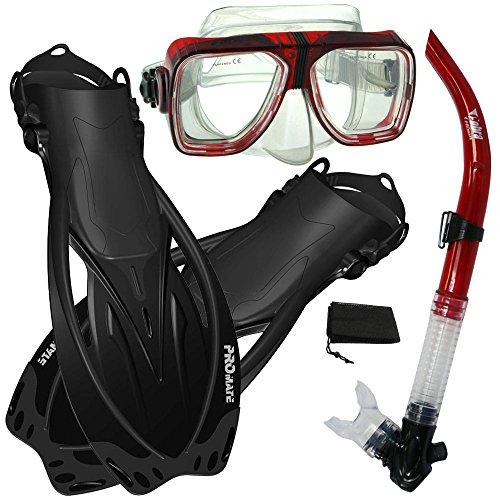 シュノーケリング マリンスポーツ 【送料無料】Promate Snorkeling Scuba Dive Snorkel Mask Fins Gear Set, RedBk, S/Mシュノーケリング マリンスポーツ