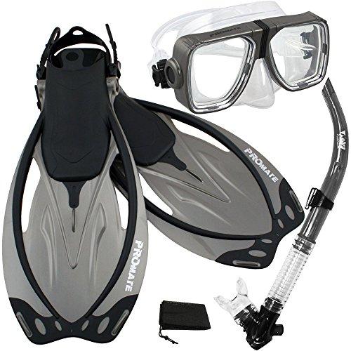シュノーケリング マリンスポーツ PROMATE Snorkeling Scuba Dive Snorkel Mask Fins Gear Set, Titanium, ML/XLシュノーケリング マリンスポーツ