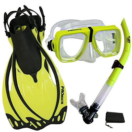 シュノーケリング マリンスポーツ PROMATE Snorkeling Scuba Dive Snorkel Mask Fins Gear Set, n.Yellow, ML/XLシュノーケリング マリンスポーツ