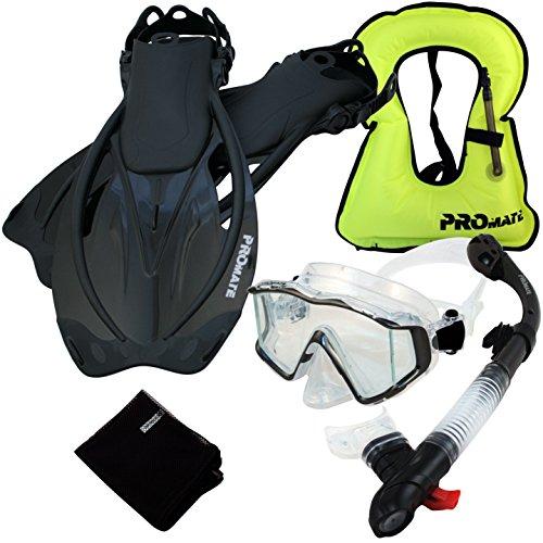 シュノーケリング マリンスポーツ 999001-BK-S/M, Snorkeling Vest Scuba Dive Panoramic PURGE Mask Dry Snorkel Fins Gear Setシュノーケリング マリンスポーツ