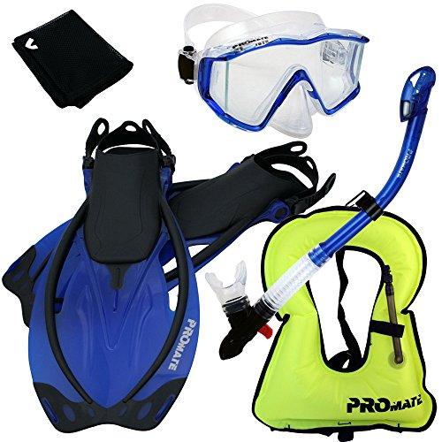 シュノーケリング マリンスポーツ 999001-Blue-ML/XL, Snorkeling Vest Scuba Dive Panoramic PURGE Mask Dry Snorkel Fins Gear Setシュノーケリング マリンスポーツ