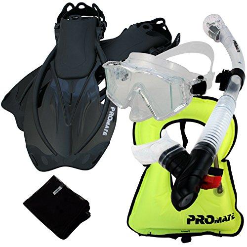 シュノーケリング マリンスポーツ 999001-Clr/Bk-ML/XL, Snorkeling Vest Scuba Dive Panoramic PURGE Mask Dry Snorkel Fins Gear Setシュノーケリング マリンスポーツ
