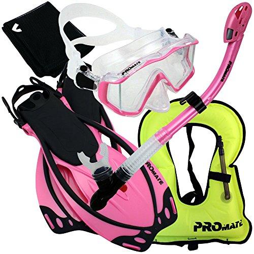 シュノーケリング マリンスポーツ 999001-Pink-S/M,Snorkeling Vest Scuba Dive Panoramic PURGE Mask Dry Snorkel Fins Gear Setシュノーケリング マリンスポーツ