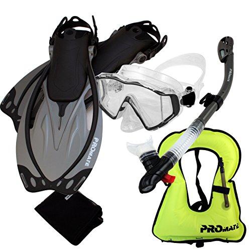 シュノーケリング マリンスポーツ 999001-Ti, MLXL, Snorkeling Vest Scuba Dive Panoramic PURGE Mask Dry Snorkel Fins Gear Setシュノーケリング マリンスポーツ