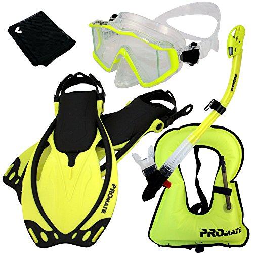 シュノーケリング マリンスポーツ 999001-Yellow-S/M, Snorkeling Vest Scuba Dive Panoramic PURGE Mask Dry Snorkel Fins Gear Setシュノーケリング マリンスポーツ