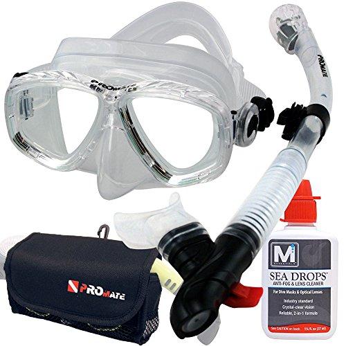 シュノーケリング マリンスポーツ Promate Mask Snorkel Set SeaDrops Anti-Fog Scuba Dive Mesh Bag Set- Clearシュノーケリング マリンスポーツ