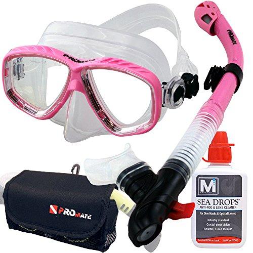 シュノーケリング マリンスポーツ Promate MK275+SK890+SeaDrops+DB020 Mask Snorkel Set Seadrops Anti Fog Mask Snorkel Gear Bag Setシュノーケリング マリンスポーツ