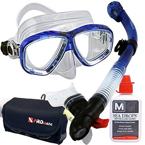 シュノーケリング マリンスポーツ 【送料無料】Promate Snorkeling Set SeaDrops Anti-Fog Mask Snorkel Gear Bag Set- tBlueシュノーケリング マリンスポーツ