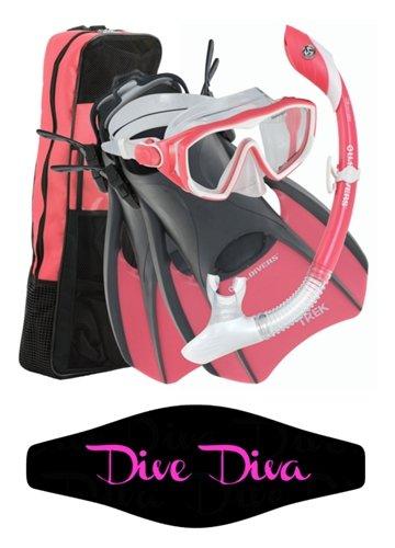 シュノーケリング マリンスポーツ AquaLung Diva 1 LX Mask, Island Dry LX Snorkel, Trek Fin Diva Strap Wrapper (Medium)シュノーケリング マリンスポーツ
