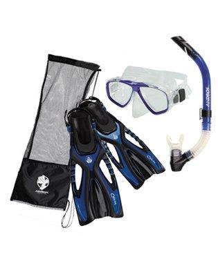 シュノーケリング マリンスポーツ Akona Adult Snorkeling Set Mask Snorkel Fin Package, Blue, LG/XLシュノーケリング マリンスポーツ
