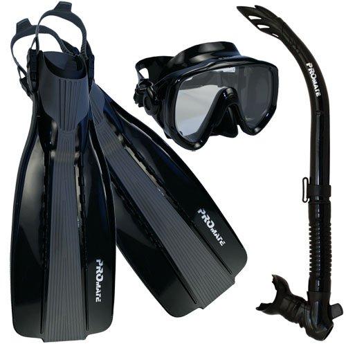 シュノーケリング マリンスポーツ Promate Scuba Diving Fins Snorkel Extra-Wide Scuba Mask Set, AllBlack, XLシュノーケリング マリンスポーツ