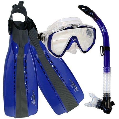 シュノーケリング マリンスポーツ Promate Scuba Diving Fins Snorkel Extra-Wide Scuba Mask Set, Blue, Mシュノーケリング マリンスポーツ