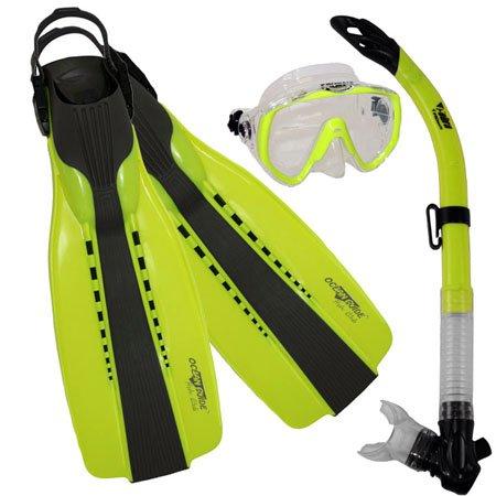 シュノーケリング マリンスポーツ Promate Scuba Diving Fins Snorkel Extra-Wide Scuba Mask Set, Yellow, Lシュノーケリング マリンスポーツ