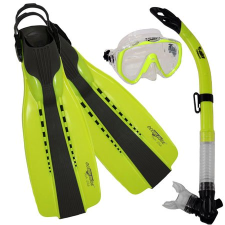 シュノーケリング マリンスポーツ Promate Scuba Diving Fins Snorkel Extra-Wide Scuba Mask Set, Yellow, XLシュノーケリング マリンスポーツ
