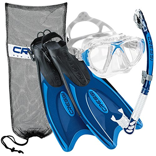 シュノーケリング マリンスポーツ Cressi Nano Crystal Scuba Mask Fin Snorkel Set, BL-MLシュノーケリング マリンスポーツ
