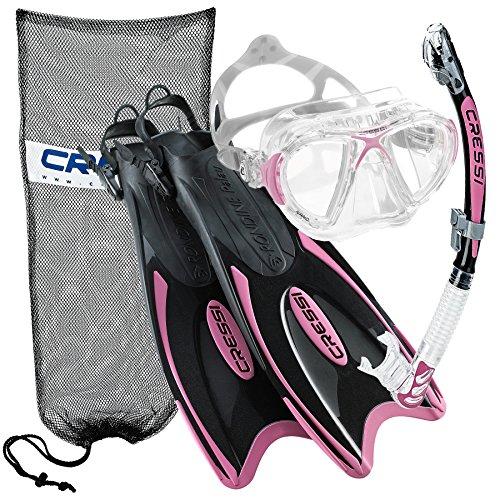 シュノーケリング マリンスポーツ Cressi Nano Crystal Scuba Mask Fin Snorkel Set, PK-SMシュノーケリング マリンスポーツ