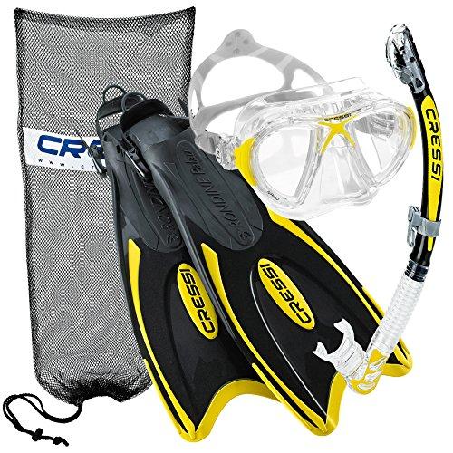 シュノーケリング マリンスポーツ 【送料無料】Cressi Nano Crystal Scuba Mask Fin Snorkel Set, YL-MLシュノーケリング マリンスポーツ