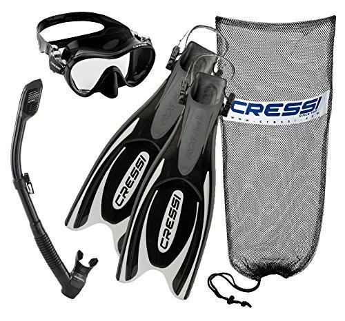 シュノーケリング マリンスポーツ Cressi Frog Plus Fins with Frameless Mask Dry Snorkel Set, BK-MLシュノーケリング マリンスポーツ