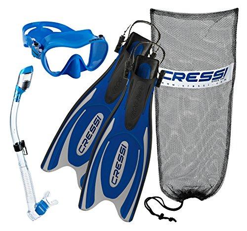 シュノーケリング マリンスポーツ 【送料無料】Cressi Frog Plus Fins with Frameless Mask Dry Snorke Set, BL-LXLシュノーケリング マリンスポーツ