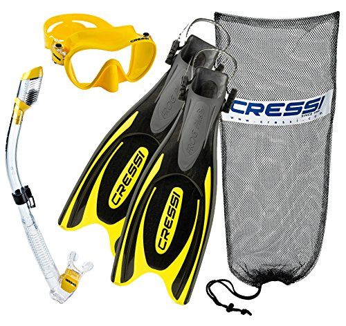 シュノーケリング マリンスポーツ Cressi Frog Plus Fins with Frameless Mask Dry Snorkel Set, YL-SMシュノーケリング マリンスポーツ