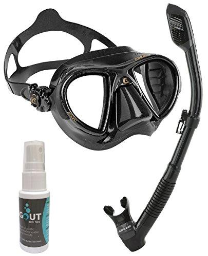 シュノーケリング マリンスポーツ Cressi Nano Crystal Mask Dry Snorkel Set with Fog-Out, All Blackシュノーケリング マリンスポーツ