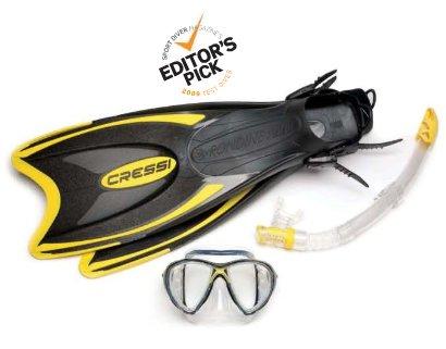 シュノーケリング マリンスポーツ Cressi Sub Evo Evolution Gamma Palau Snorkel Scuba Set, Yellow, Large/X-Largeシュノーケリング マリンスポーツ