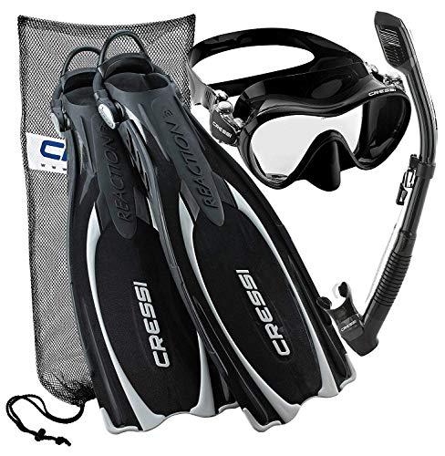 シュノーケリング マリンスポーツ Cressi Reaction EBS Adjustable Mask Fin Dry Snorkel Scuba Gear Set, Black, X-Small/Smallシュノーケリング マリンスポーツ