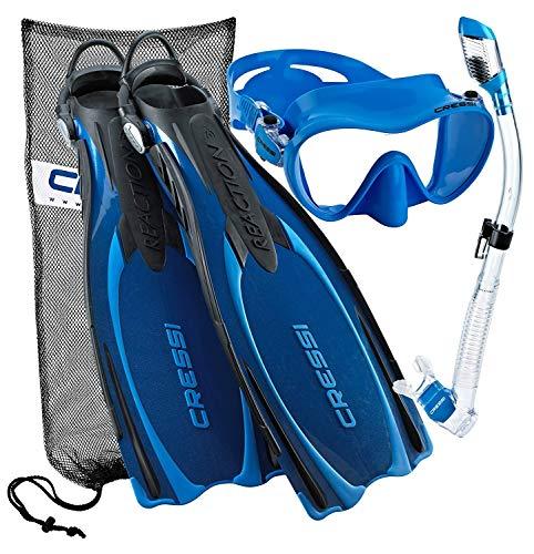シュノーケリング マリンスポーツ CRS-REACTION-MFS-BL-LG 【送料無料】Cressi Reaction EBS Adjustable Mask Fin Dry Snorkel Scuba Gear Set, Blue, Large/X-Largeシュノーケリング マリンスポーツ CRS-REACTION-MFS-BL-LG
