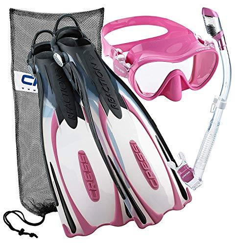 シュノーケリング マリンスポーツ CRS-REACTION-MFS-PK-SM Cressi Reaction EBS Adjustable Mask Fin Dry Snorkel Scuba Gear Set, Pink, Small/Mediumシュノーケリング マリンスポーツ CRS-REACTION-MFS-PK-SM