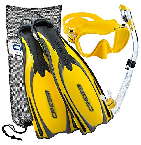 シュノーケリング マリンスポーツ CRS-REACTION-MFS-YL-MD Cressi Reaction EBS Adjustable Mask Fin Dry Snorkel Scuba Gear Set, Yellow, Medium/Largeシュノーケリング マリンスポーツ CRS-REACTION-MFS-YL-MD