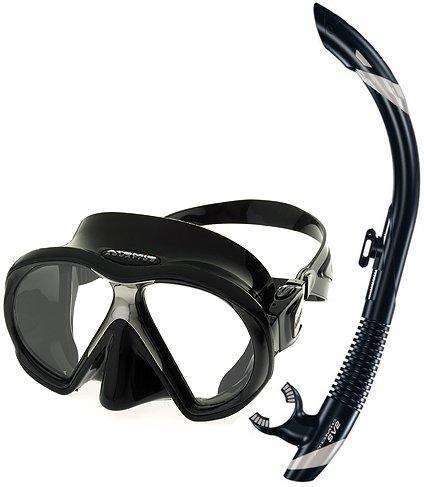 シュノーケリング マリンスポーツ Atomic Scuba Snorkeling Mask Snorkel Set, All Blackシュノーケリング マリンスポーツ