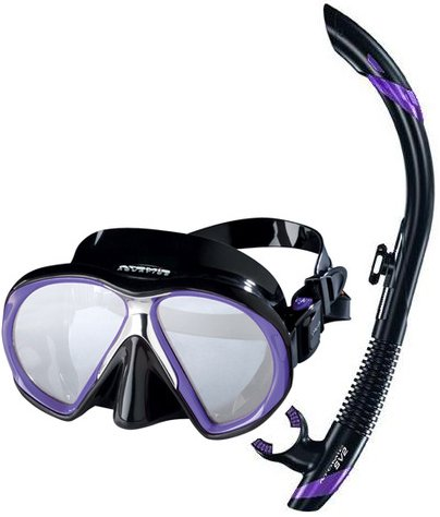 シュノーケリング マリンスポーツ Atomic Scuba Snorkeling Mask Snorkel Set, Black Purpleシュノーケリング マリンスポーツ